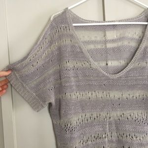 Eileen Fisher Knit Lace muted blue green gray top
